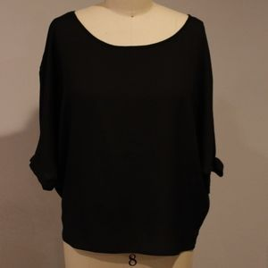Tops - Elbow Length Sleeve Top w/ Cut outs, Faux Buttons